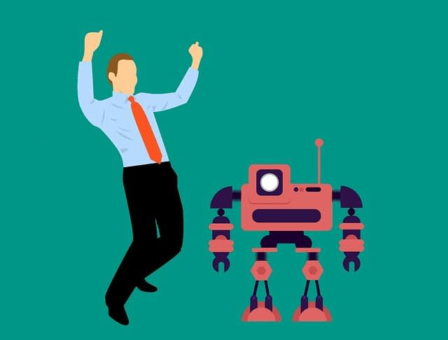 happy man, robot