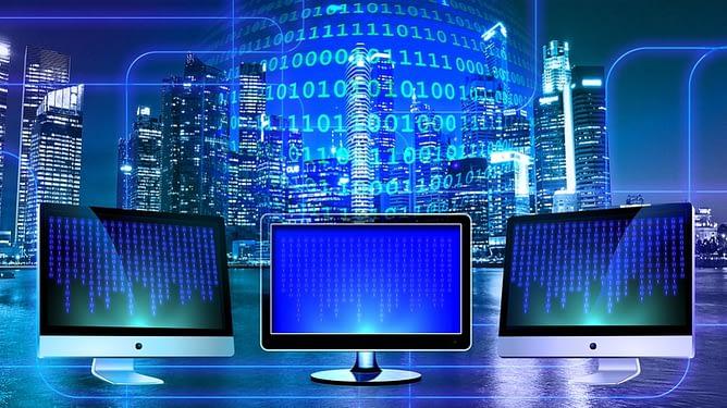 three computer screens