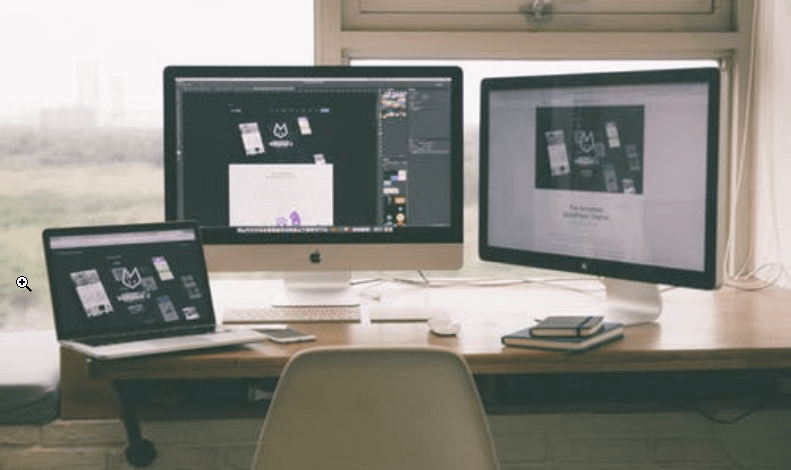 three screens showing designs
